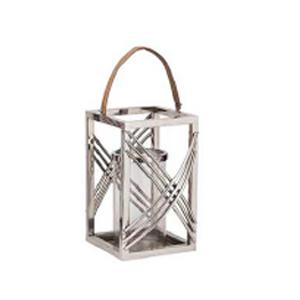 Linterna de metal  plateada con pantalla de cristal de 26x26x48cm