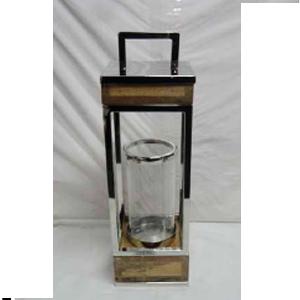 Linterna de metal con madera y pantalla de cristal de 15x15x49cm