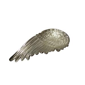 Charola de metal plateada diseño ala de 35x20cm
