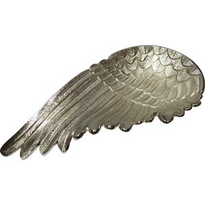Charola de metal plateada diseño ala de 60x32cm