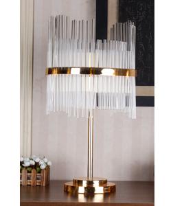Lámpara de mesa para 4 focos dorada con pantalla de tubos de cristal