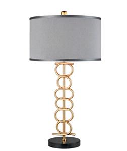 Lámpara de mesa para 1 foco con base diseño óvalos de metal dorados