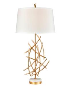 Lámpara de mesa para 1 foco diseño varas de metal doradas