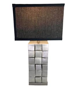 Lámpara de mesa para 1 foco con base diseño cuadros plateados