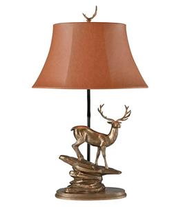 Lámpara de mesa para 1 foco con base diseño Venado dorado de