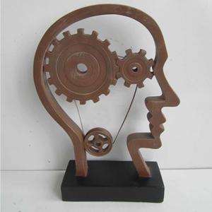 Escultura de cabeza con engranes