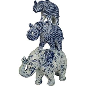 Decoración de 3 elefantes a colores de 23X9X5cm