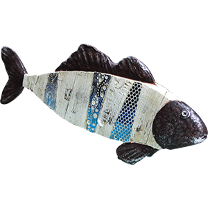 Decoración de pescado a colores de 38x5x15cm