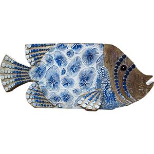 Decoración de pescado a colores de 31x7x13cm
