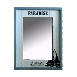 Espejo de madera blanco c/azul estampado motivos marinos de 34x42x2cm