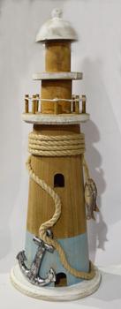 Faro de madera con lazo y ancla 14x14x40cm
