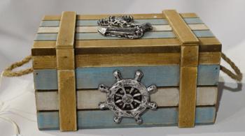 Baúl de madera en tonos azules con decoraciones marinas  16x10x8cm