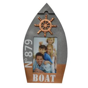 Portarretratos de madera diseño lancha en tonos grises y cobre 31x17.5x1.8cm