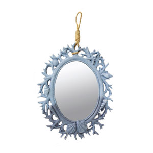 Espejo para pared oval diseño coral azul 40.5x31x2.5cm