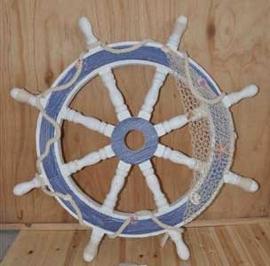 Timón de madera decorativo blanco con azul de 90x90x6cm