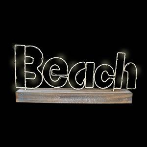 Letrero de Beach en base de madera de 42x21x55cm