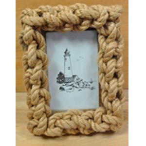 Portarretratos forrado de nudos marinos de 22x4x17cm