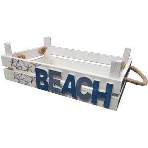 Charola de madera Con letrero de Beach de 45x25x12cm