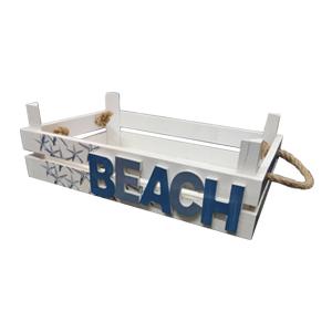 Charola de madera Con letrero de Beach de 35x21x10cm