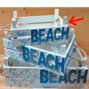 Charola de madera Con letrero de Beach de 29x9x17cm