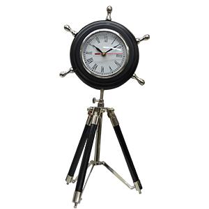 Reloj de metal diseño timón con tripie de 20x40cm