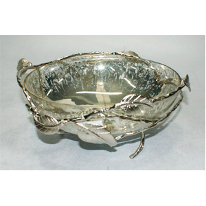 Dulcero de metal con recipiente de vidrio y guía de hojas de 12x26cm