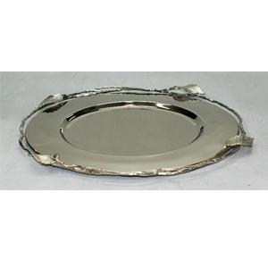 Plato base de acero inoxidable cromado con orilla de guía de 36cm