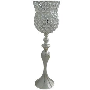 Florero cromado de metal diseño copa con cuentas de cristal de 30x30x124cm
