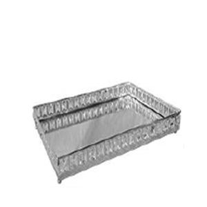 Charola de metal cromada c/orilla de cuentas de cristal de 38x26x6cm