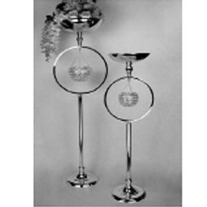Base para flores y espacio para candelabro de metal cromada de 30x25x98cm