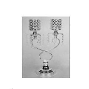 Candelabro de metal de 2 velas con pantallas de cuentas de cristal de 28x15x46cm