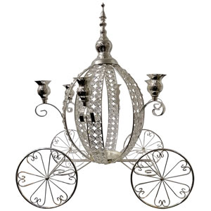 Candelabro para 5 velas diseño carreta de metal con cuentas de acrílico de 38x45x55cm