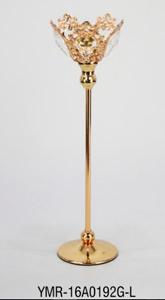 Candelabro dorado con cuentas de acrilico 12x12x40cm