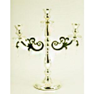Candelabro triple de metal dorado diseño clásico de 44x18x49cm