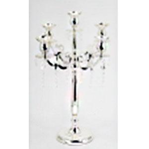 Candelabro para 5 velas de metal plateado diseño clásico de 52x52x74cm