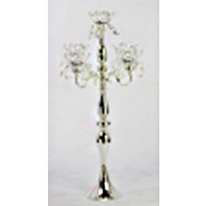 Candelabro de metal plateado para 5 velas con cuentas de 48x48x86cm