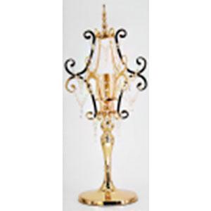 Candelabro de mesa clásico dorado con cuentas y pantalla de cristal de 37x37x88cm