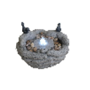 Fuente diseño manos de piedra con aves y luz led de 28x28x15cm