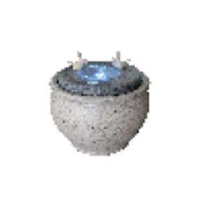 Fuente diseño Maceta de piedra con aves y luz led de 36x27.5cm