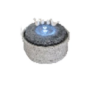 Fuente diseño base de columna de piedra con aves y luz led de 36x27.5cm
