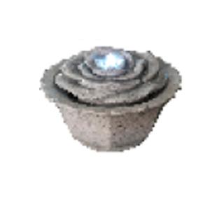Fuente diseño maceta con rosa de piedra y luz led de 37x23cm