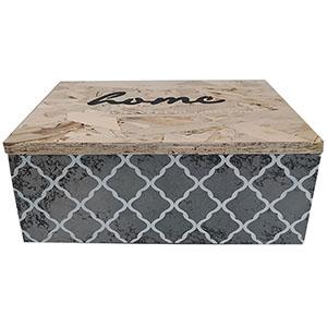 Caja de madera natural en tonos grises de 21x16x8.5cm
