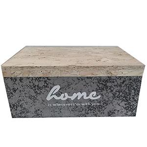 Caja de madera natural en tonos grises y natural de 28x20x12cm