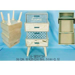 Cajonera de madera natural tonos grises y natural moderna de 4 cajones de 31x25x61.5cm