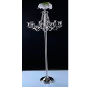 Candelabro de metal cromado p/10 velas con cuentas de cristal y florero de 66x66x152cm