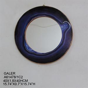 Espejo de pared redondo imitación cuarzo azul de 40x1.8x40cm