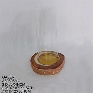 Candelabro imitación cuarzo café con pantalla de cristal de 20x15x34.4cm