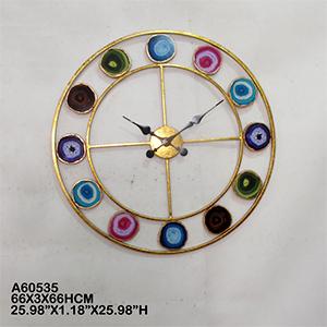 Reloj de pared dorado imitación círculos de cuarzos de colores