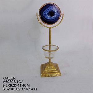 Candelabro para t-light dorado con cuarzo azul de 9x9x41cm