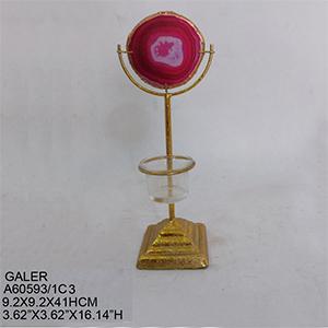 Candelabro para t-light dorado con cuarzo rosa de 9x9x41cm